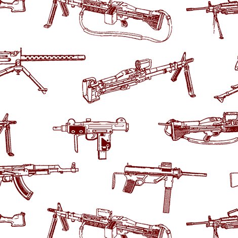 Red Machine Guns // Large fabric by thinlinetextiles on Spoonflower - custom fabric