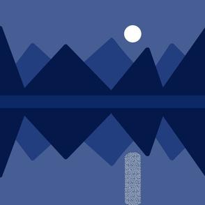Full moon rising - monochrome
