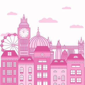 Pink London Skyline 17*22