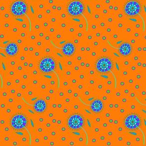 Folk Art Floribunda on Orange