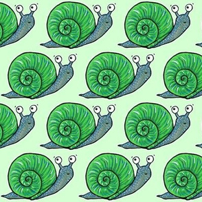 Cute Snail on Green
