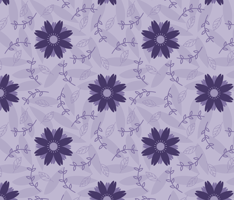 Monochrome Ultraviolet Coreopsis fabric by piecefulbee on Spoonflower - custom fabric
