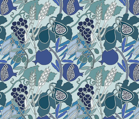 Seven Species Botanical Print in Blue Greens - Original Scale. fabric by theplumgrove on Spoonflower - custom fabric