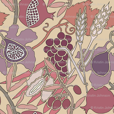 Seven Species Botanical Print in Mauves and Plums - Large Scale