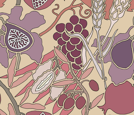 Seven Species Botanical Print in Mauves and Plums - Large Scale fabric by theplumgrove on Spoonflower - custom fabric