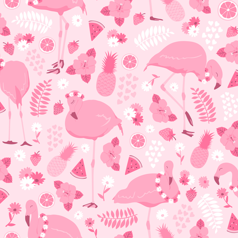 Fruits!Flowers!FLAMINGOS! fabric by moonpuff on Spoonflower - custom fabric