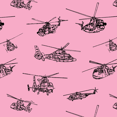 Choppers on Pink // Small fabric by thinlinetextiles on Spoonflower - custom fabric