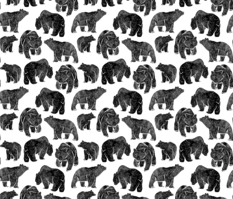 Bold Black Bear Print fabric by hazelnut_green on Spoonflower - custom fabric