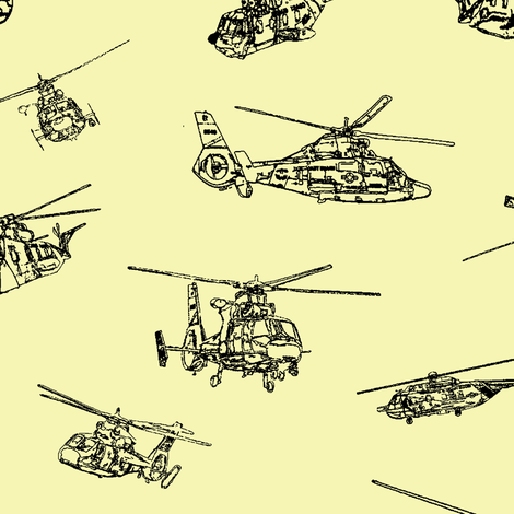 Choppers on Yellow // Large fabric by thinlinetextiles on Spoonflower - custom fabric