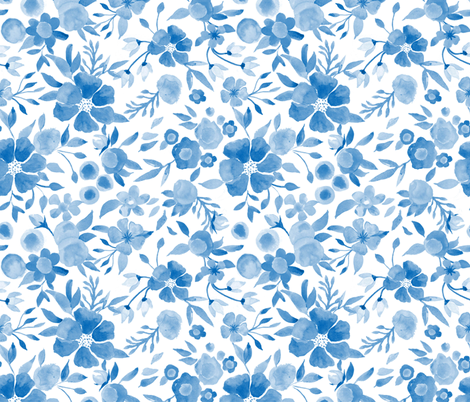 In the city of Delft the flowers are blue fabric by vo_aka_virginiao on Spoonflower - custom fabric