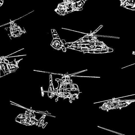 Choppers on Black // Large fabric by thinlinetextiles on Spoonflower - custom fabric