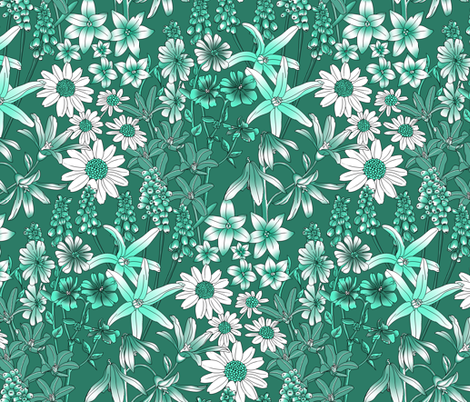 A FIELD OF WILD FLOWERS - challenge design. fabric by house_of_heasman on Spoonflower - custom fabric