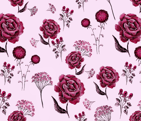 Black Peony fabric by caelabee@gmail_com on Spoonflower - custom fabric