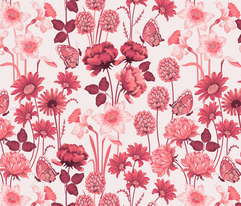 Spring_Flowers_Pink fabric by juditgueth on Spoonflower - custom fabric