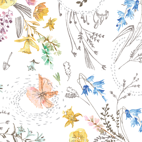 Let's Go Pick Wildflowers (white) MED  fabric by nouveau_bohemian on Spoonflower - custom fabric