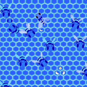 Bees in monocromatic blue 2