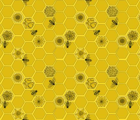 Wildflower Honey in Monochrome Yellow fabric by laurenjdelgado_ on Spoonflower - custom fabric