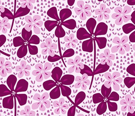 Pink Blooms fabric by inkytinc on Spoonflower - custom fabric