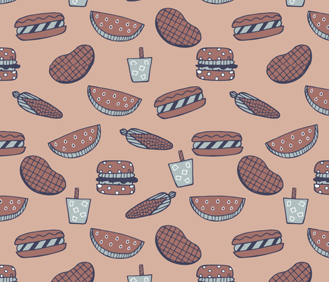 Summer Barbecue fabric by paperondesign on Spoonflower - custom fabric