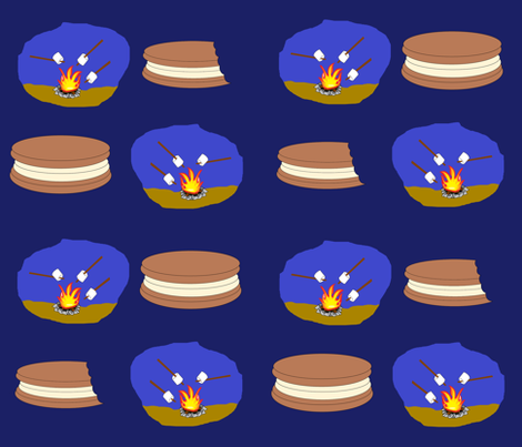 Summer Cooking- S'mores fabric by b2b on Spoonflower - custom fabric