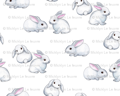 Little White Rabbits with Pink Ears in Watercolor - tiny version