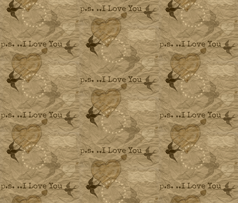 Postal Heart-ed fabric by katawampus on Spoonflower - custom fabric