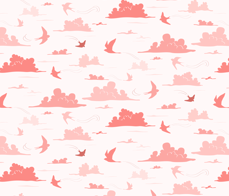 Swallows and clouds fabric by charlotte_lorge on Spoonflower - custom fabric