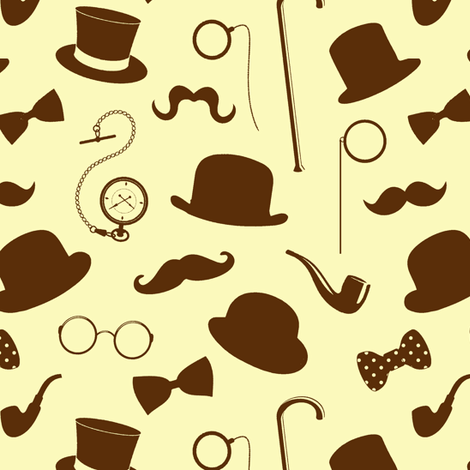 Gentlemanly Attire in Brown & Yellow // Small fabric by thinlinetextiles on Spoonflower - custom fabric