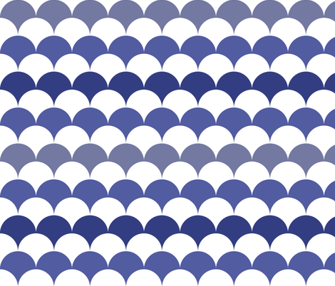 Scallops in Prussian Blue + White by Su_G fabric by su_g on Spoonflower - custom fabric