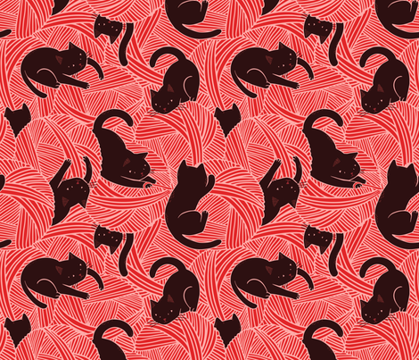 Cats on balls  fabric by boadala on Spoonflower - custom fabric