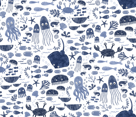 Under the Deep Blue Sea fabric by red_raspberry_design on Spoonflower - custom fabric