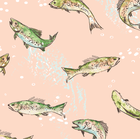 Let's Go Fishing (salmon)  fabric by nouveau_bohemian on Spoonflower - custom fabric