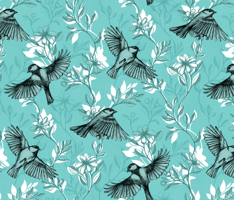 Flowers and Flight in Monochrome Teal fabric by micklyn on Spoonflower - custom fabric