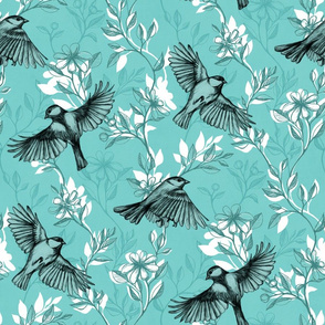 Flowers and Flight in Monochrome Teal