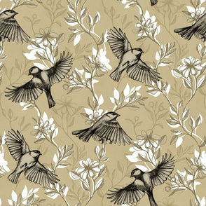 Flowers and Flight in Monochrome Tan