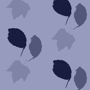Elm + maple leaves, in Prussian Blue monochrome by Su_G