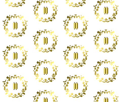 Shavuot, Gold on White fabric by anneostroff on Spoonflower - custom fabric