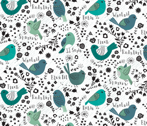 Rainy Day Birdwatching Sketches fabric by christinewitte on Spoonflower - custom fabric