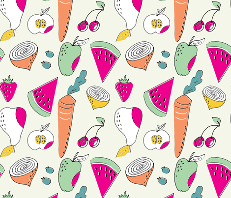 Summer cookout veggies fabric by gemmacosgroveball on Spoonflower - custom fabric