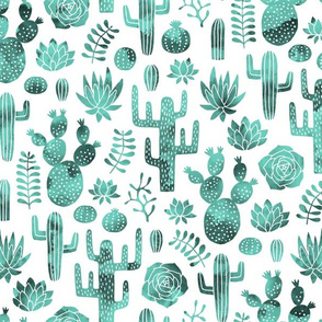 Cactus and succulent monochrome mint watercolor