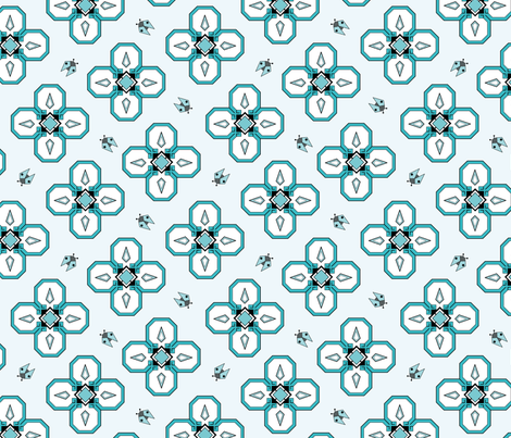 Spring Bug - duck egg blue fabric by fionadugerdil on Spoonflower - custom fabric