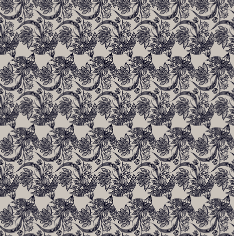 Lace Birds {Ink} - micro scale - Railroad fabric by ceciliamok on Spoonflower - custom fabric