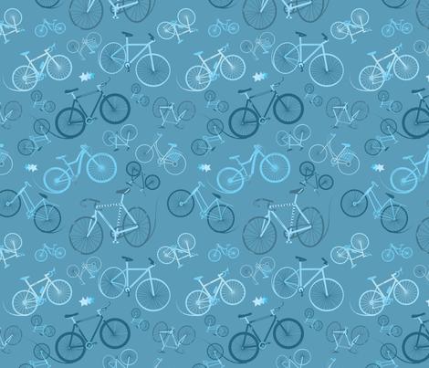 I love bikes Teal fabric by stasiajahadi on Spoonflower - custom fabric