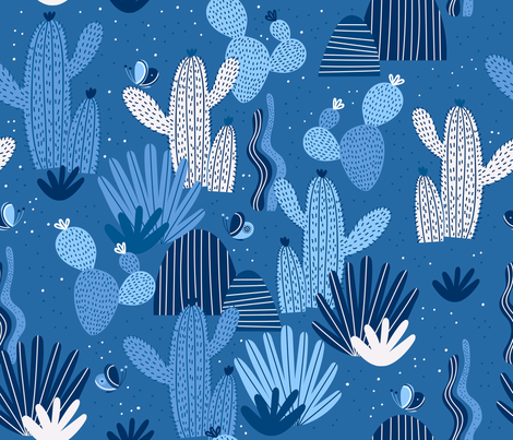 Cactus world fabric by hala_kobrynska on Spoonflower - custom fabric