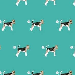 wire fox terrier dog fart dog breed fabric teal