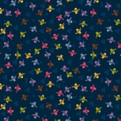 Multi coloured bees on indigo dark blue background. fabric by jaggedfin on Spoonflower - custom fabric