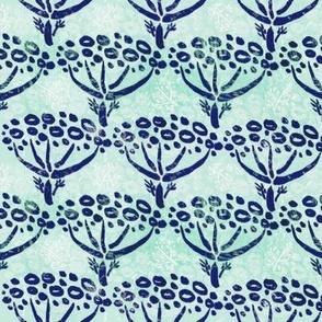 Herb-dill batik (navy-mint)