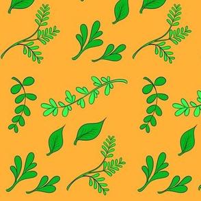 Herbs on orange/yellow background