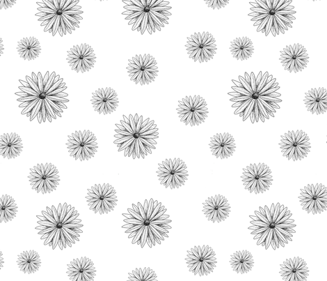 Black And White Daisies fabric by kaitlynm647 on Spoonflower - custom fabric