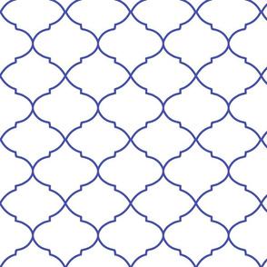 Cobalt blue ogee trellis blue lattice work royal  blue